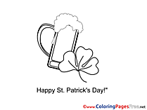 Clover Beer Coloring Sheets St. Patricks Day free