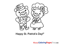 Couple Bears Colouring Page St. Patricks Day free
