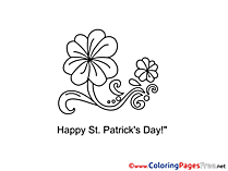 Flower St. Patricks Day Colouring Sheet free