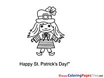 Girl free St. Patricks Day Coloring Sheets