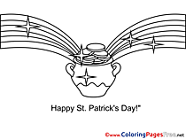Gold Pot for Kids St. Patricks Day Colouring Page