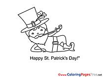 Leprechaun Coloring Sheets St. Patricks Day free
