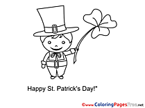 Man in Hat Colouring Sheet download St. Patricks Day