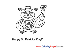 Owl printable Coloring Pages St. Patricks Day