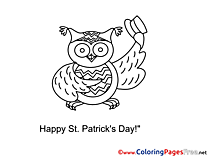 Owl St. Patricks Day free Coloring Pages