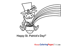 Pot Leprechaun St. Patricks Day free Coloring Pages