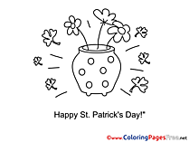 Pot with Flowers Children St. Patricks Day Colouring Page