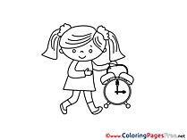 Alarm Clock Kids Summer Girl Coloring Pages