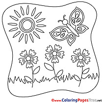Butterfly Colouring Sheet download Summer Flowers