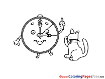 Cat Alarm Clock Colouring Sheet download Summer