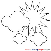 Clouds Summer free Coloring Pages Sun