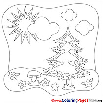 Fir Sun Kids Summer Coloring Page