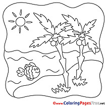 Fish Coloring Sheets Summer free Palms