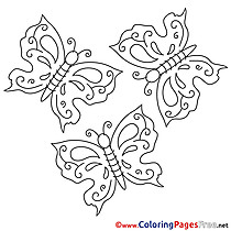 Kids Summer Coloring Page Butterflies