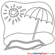 Parasol free Summer Coloring Sheets Sun
