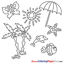 Parasol Palms Summer Colouring Sheet free Sun