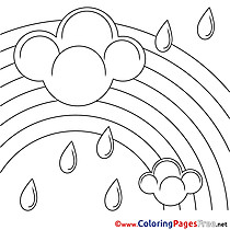 Rainbow free Summer Rain Coloring Sheets