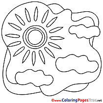 Sky Sun printable Summer Coloring Sheets Clouds