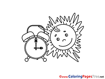 Sun Alarm Clock Summer Coloring Pages download