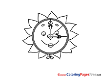 Sun Clock printable Coloring Pages Summer