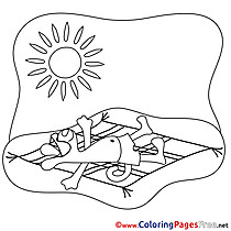 Sunbathe Children Summer Colouring Page Sun