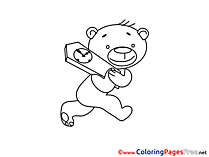 Teddy Bear Coloring Sheets Summer free Clock