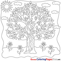 Tree Summer Coloring Pages download Flowers