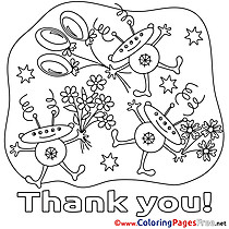 Aliens Flowers Coloring Sheets Thank You free