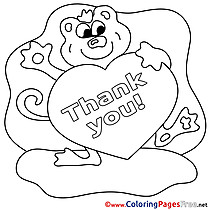 Animal Colouring Page Thank You free