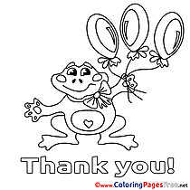 Balloons Frog printable Coloring Pages Thank You