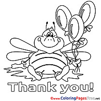Bee Balloons Thank You free Coloring Pages