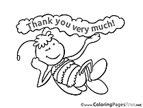 Bee free Colouring Page Thank You