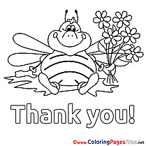 Bee Thank You free Coloring Pages