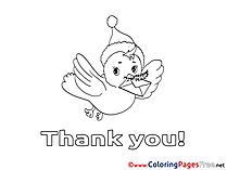 Bird flying free Colouring Page Thank You