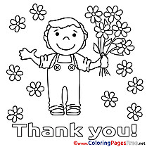 Boy Flowers printable Thank You Coloring Sheets