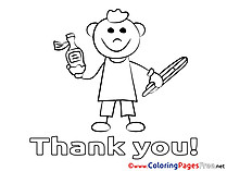 Boy Thermometer Colouring Sheet Thank You