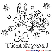 Bunny Flowers Kids Thank You Coloring Pages