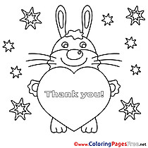 Bunny Heart Children Thank You Colouring Page