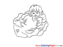 Cabbage Baby free Thank You Coloring Sheets