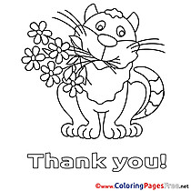 Cat Children Thank You Colouring Page