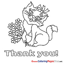 Cat Flowers Thank You Coloring Pages free