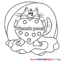 Cat Heart Kids Thank You Coloring Pages