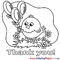 Chicken Balloon download Thank You Coloring Pages