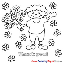 Child Colouring Page Flowers Thank You free