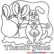 Dog Balloons Colouring Sheet download Thank You