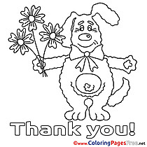Dog Bouquet download Thank You Coloring Pages