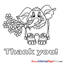Elephant Thank You Coloring Pages free