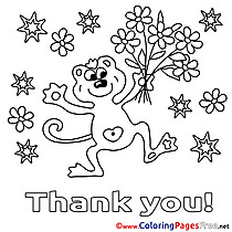 Flowers Animal Thank You Coloring Pages download