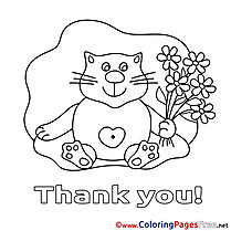 Flowers Cat Kids Thank You Coloring Page