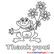 Frog Flowers free Thank You Coloring Sheets